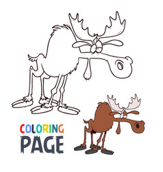 Moose cartoon coloring page vector