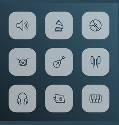 multimedia icons line style set with vinyl drum vector image