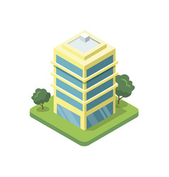 Office building isometric 3d icon vector