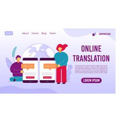 Online translation mobile service landing page vector