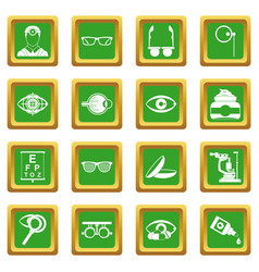 Ophthalmologist tools icons set green vector
