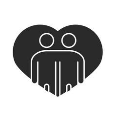 people hugging together inside heart community vector image