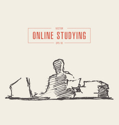 Person computer online courses education vector