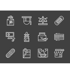 Pharmacy white simple line design icons vector