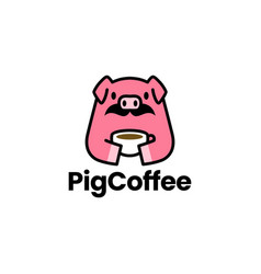 pig coffee cup moustache logo icon vector image