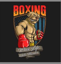 Pitbull boxing american mascot vector