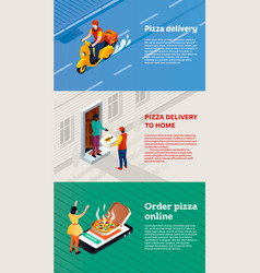 Pizza delivery banner set isometric style vector