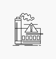 Pollution factory air alert industry line icon vector
