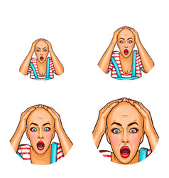 Pop art avatar of shocked girl after vector