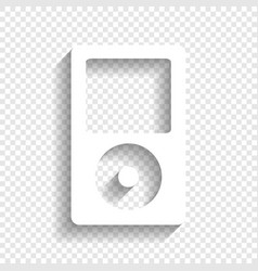 Portable music device white icon with vector