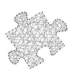 Puzzle one piece sumbol from abstract futuristic vector