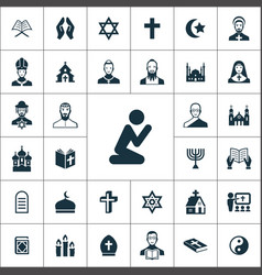 religion icons universal set for web and ui vector image