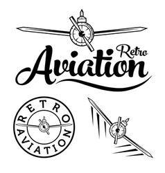 retro aviation label vector image