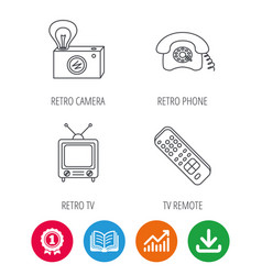 Retro camera tv remote and phone call icons vector