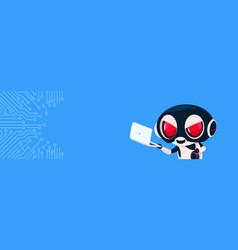 Robot in black mask hacking laptop computer hacker vector