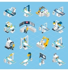 Robotic Surgery Isometric Icons Set vector