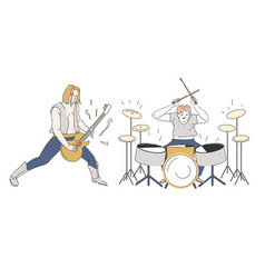 rock band guitarist and drummer performing onstage vector image