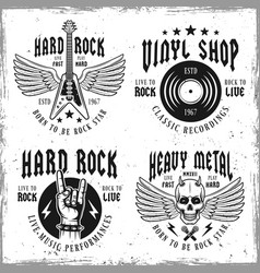 rock music monochrome emblems or labels vector image