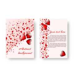 romantic invitation with red hearts vector image