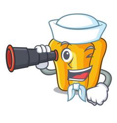 Sailor with binocular sweet yellow pepper in the vector