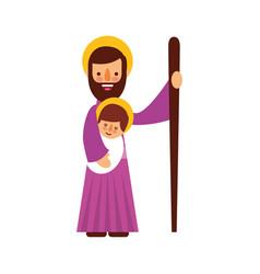 Saint joseph holding baby jesus christ christmas vector