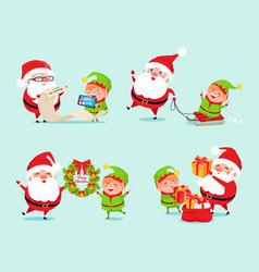Santa having fun with elf icon vector