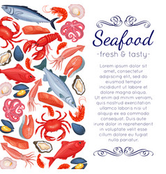 Seafood page design vector