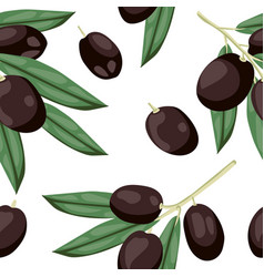 seamless olive pattern tile black olive vegetable vector image