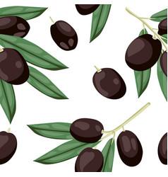Seamless olive pattern tile black olive vegetable vector