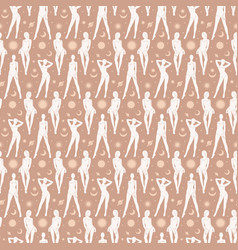 seamless pattern female silhouettes flying in vector image