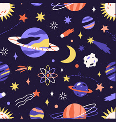 Seamless space pattern with planets and stars vector