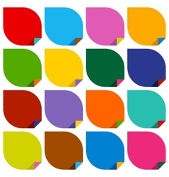 Set 16 blank stickers with bent colored angles vector