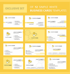 set of 12 cells creative busienss card template vector image