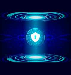 shield on future technology digital background vector image