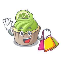 Shopping lemon cupcake character cartoon vector