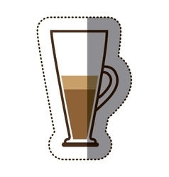 silhouette color sticker with coffee cocktail vector image