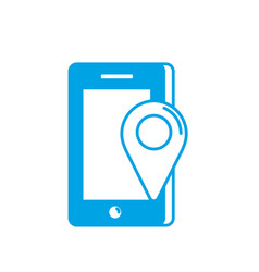 Silhouette smartphone technology with location map vector