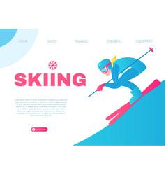 Speed skiing winter sport design template vector