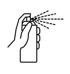 Sprayer or spray bottle in hand isolated line icon vector