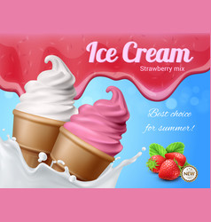 strawberry ice cream advertisement vector image