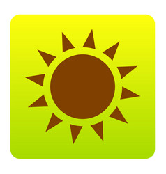 sun sign brown icon at green vector image