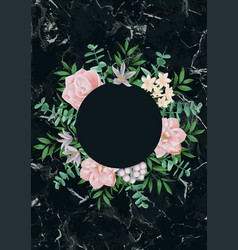 template with round frame and pink flowers on vector image
