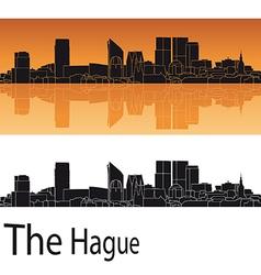 The hague skyline in orange background vector