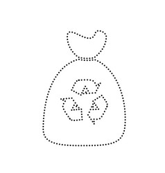 trash bag icon black dotted icon on white vector image vector image