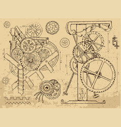 Vintage echanisms and machines in steampunk style vector
