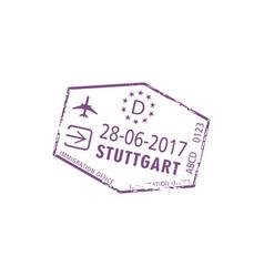 Visa stamp stuttgart airport germany control vector