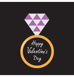 Wedding ring with purple diamond Valentines Day vector