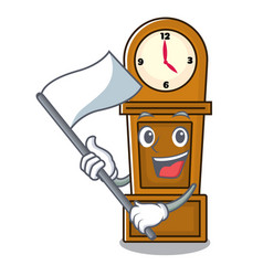 With flag grandfather clock mascot cartoon vector