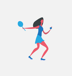 woman tennis player cartoon character sportswoman vector image