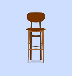 Wooden bar chair on blue background detailed vector